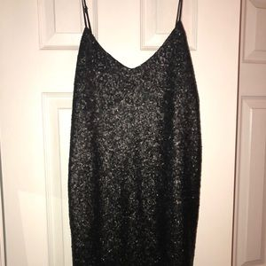 Black sequin mini dress - small
